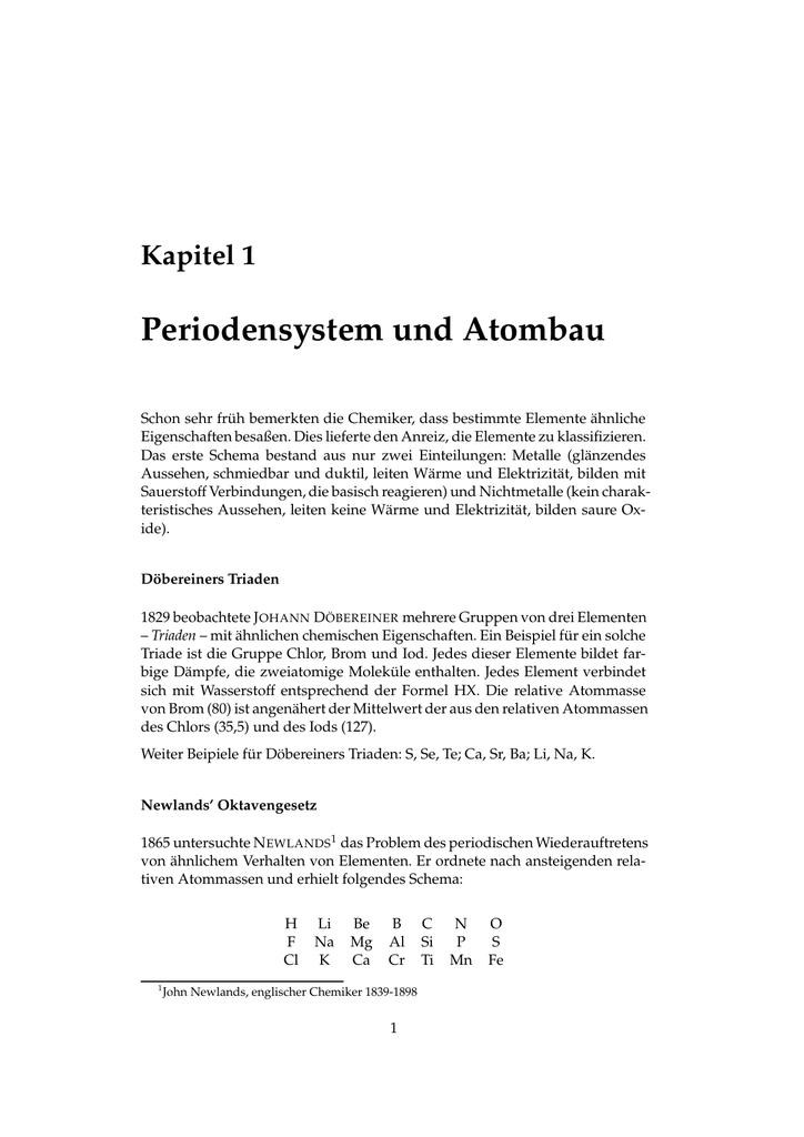 Periodensystem und Atombau - T