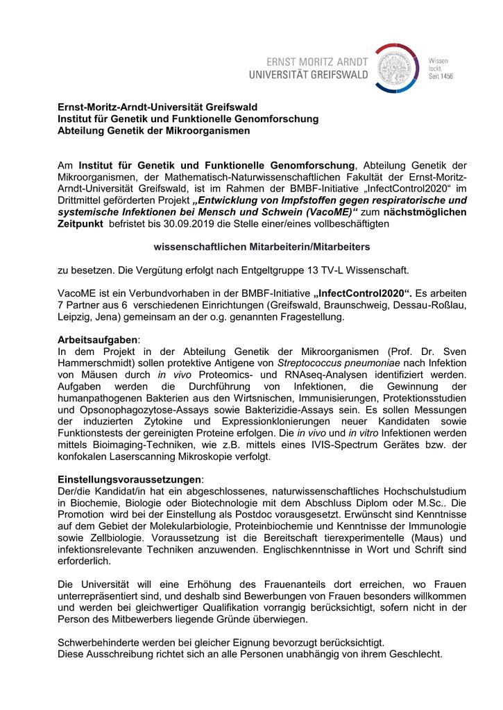 ernst moritz arndt universitt greifswald institut fr genetik und - Uni Greifswald Bewerbung