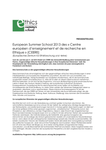 European Summer School 2013 des - KIT