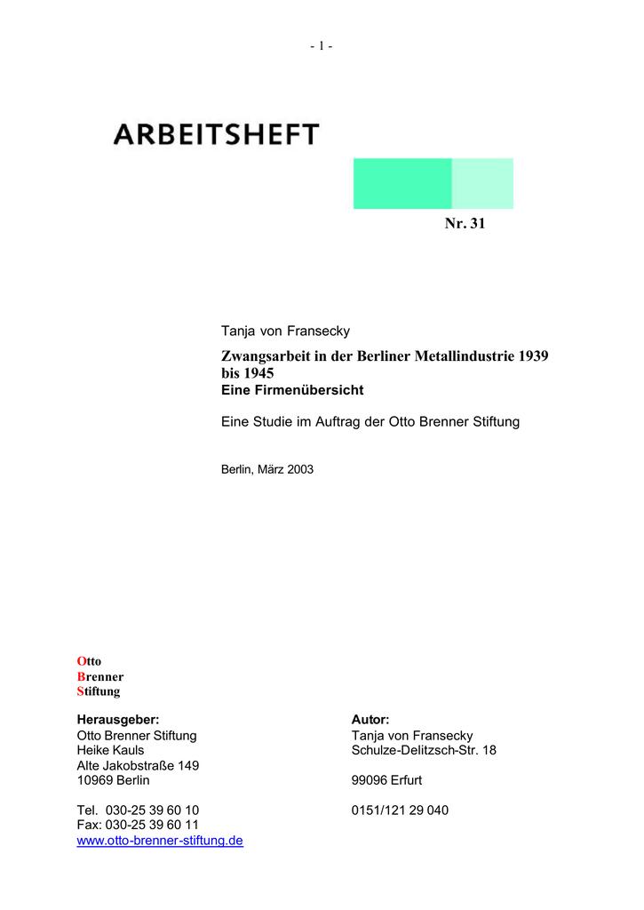 Gewerbeaufsichtsamt Berlin nr 31 zwangsarbeit in der berliner metallindustrie 1939 bis 1945