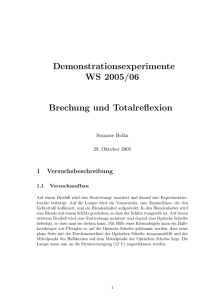 Demonstrationsexperimente WS 2005/06 Brechung und Totalreflexion