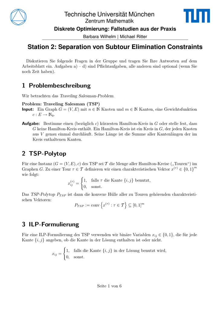 Station 2: Separation von Subtour Elimination Constraints