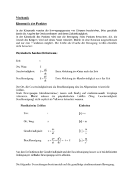 Mechanik Kinematik des Punktes - WWW-Docs for TU