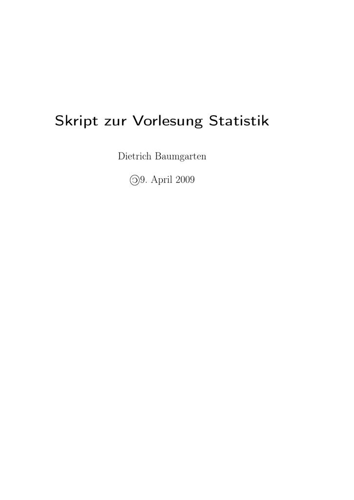Skript zur Vorlesung Statistik