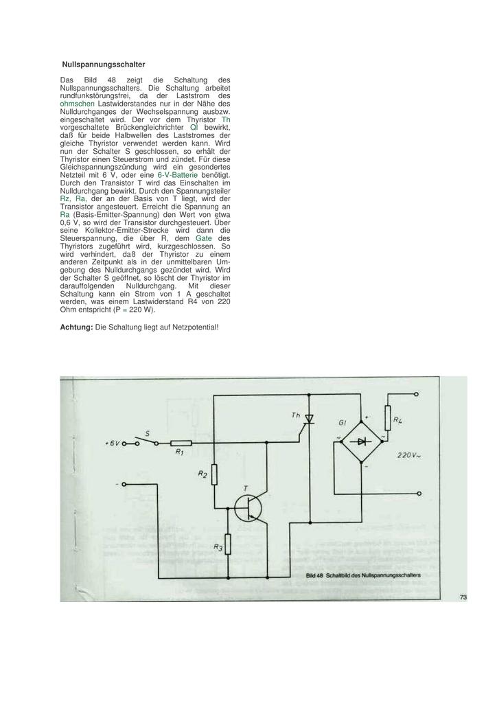 Nullspannungsschalter Das Bild 48 zeigt die Schaltung des