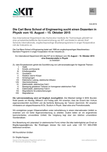 15. Oktober 2015 - the Carl Benz School of Engineering