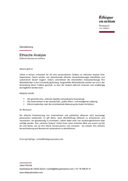Ethische Analyse - Ethique en action