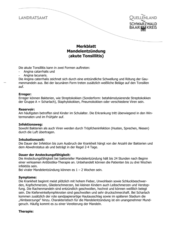 Merkblatt Mandelentzündung (akute Tonsillitis)