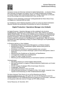 Human Resources Stellenausschreibung Digital Production