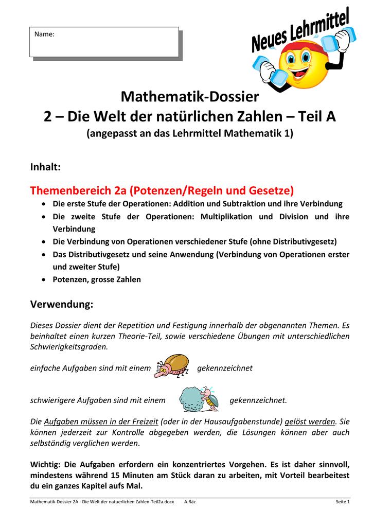 Mathematik-Dossier 2 – Die Welt der natürlichen Zahlen – Teil A