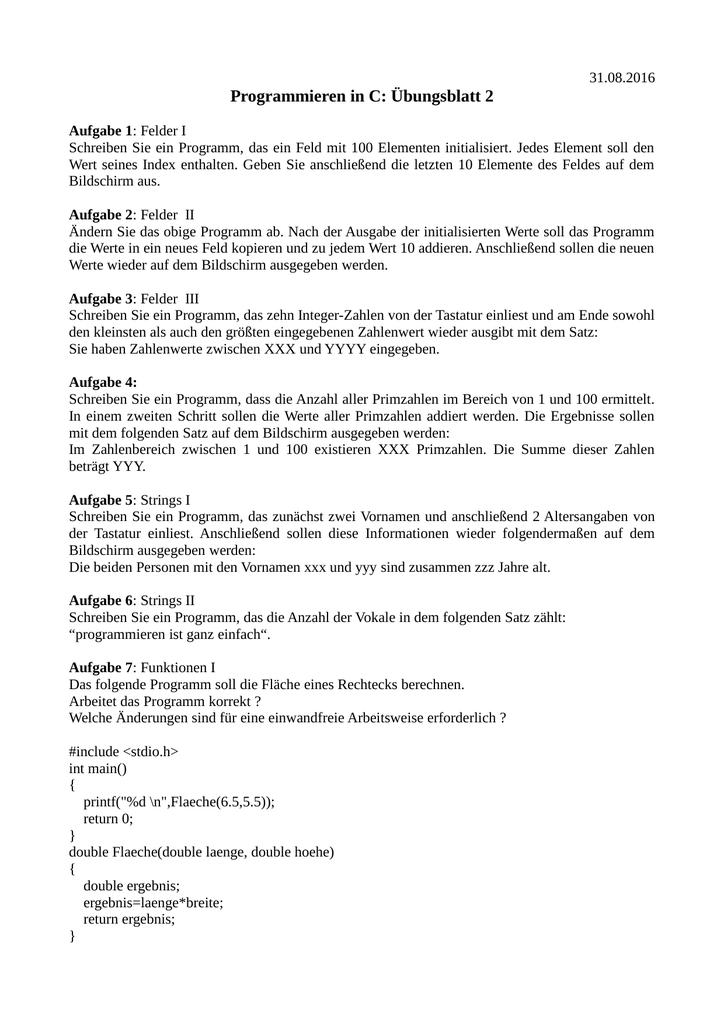 Programmieren in C: Übungsblatt 2