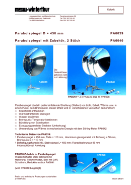 Parabolspiegel D = 450 mm PA6039 Parabolspiegel - MSW-Shop