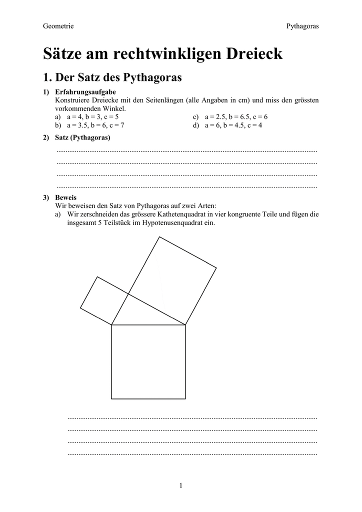Nice Satz Des Pythagoras Arbeitsblatt Doc Ornament - Mathe ...