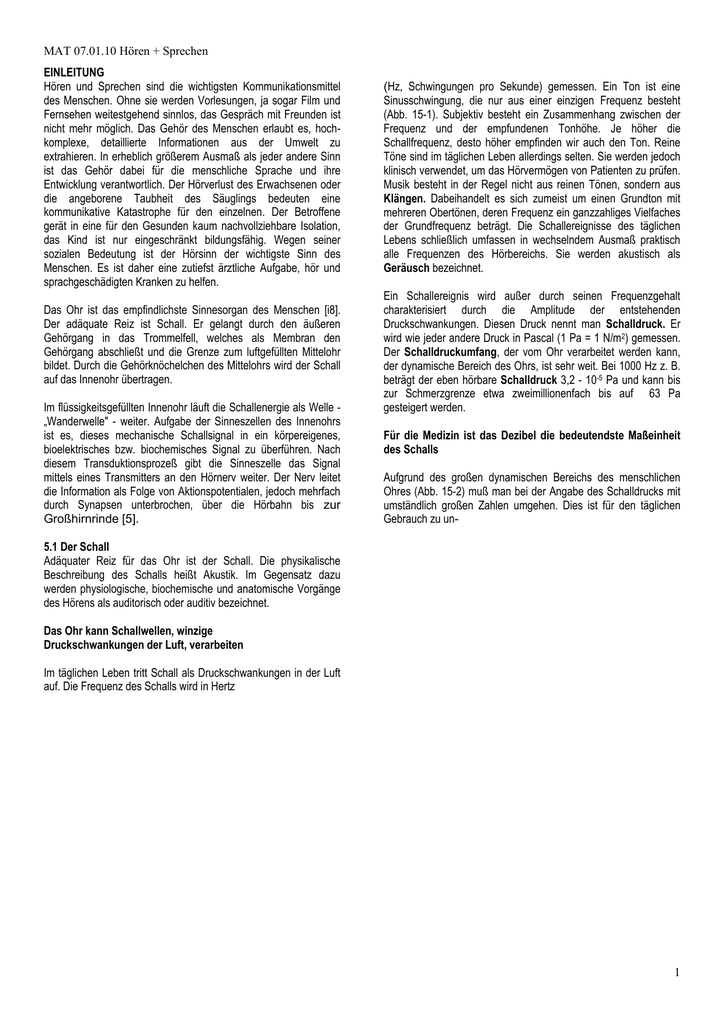 Physiologie von Ohr und Kehlkopf - tusi-hno