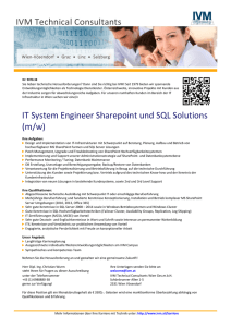 IT System Engineer Sharepoint und SQL Solutions (m/w)