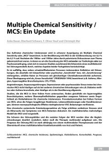 multiple Chemical Sensitivity / mCS: ein update - UMG