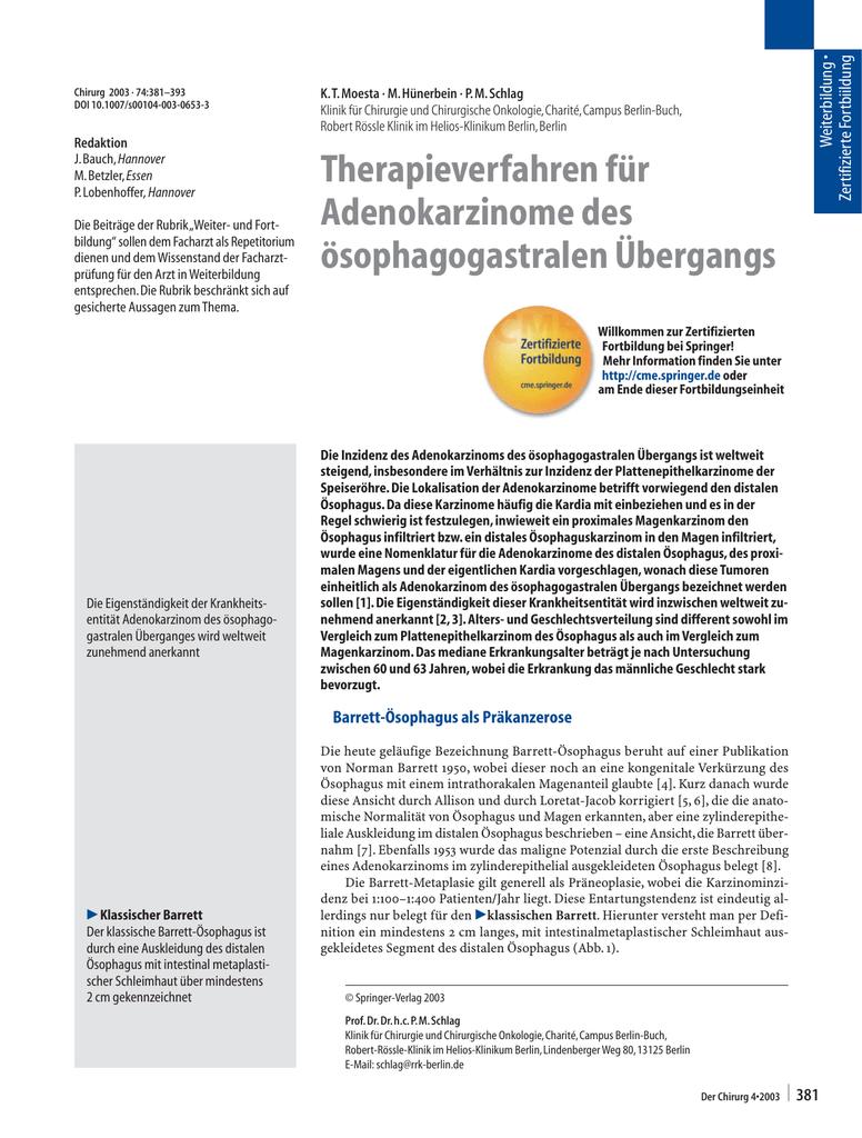 Therapieverfahren für Adenokarzinome des ösophagogastralen