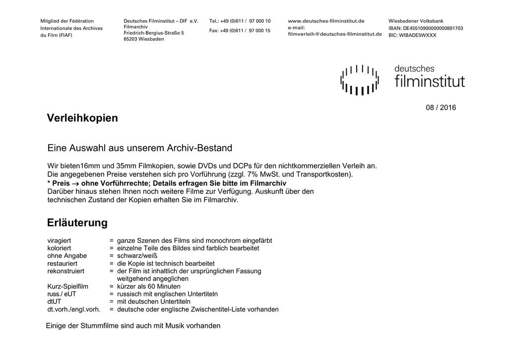Titel / Land / Jahr - Deutsches Filminstitut