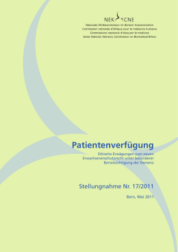 Patientenverfügung - Nationale Ethikkommission