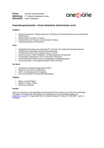 Firma: Anwendungsentwickler / Oracle Datenbank Administrator (w/m)