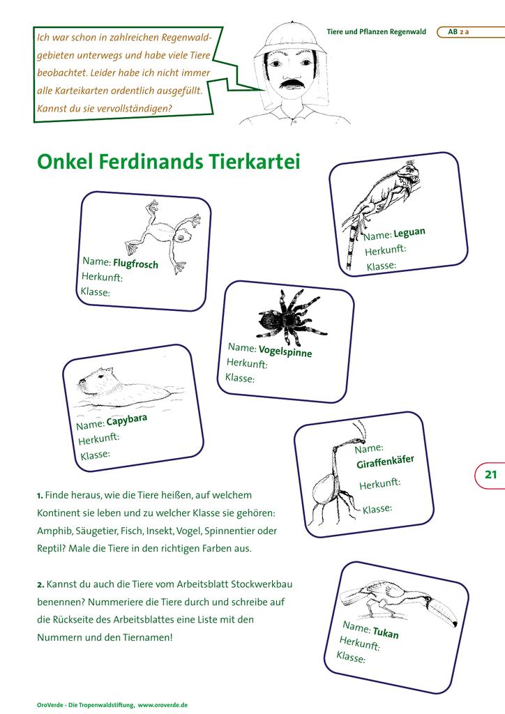 Onkel Ferdinands Tierkartei