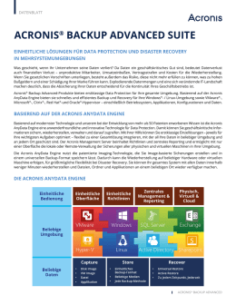 Acronis Backup Advanced Datenblatt