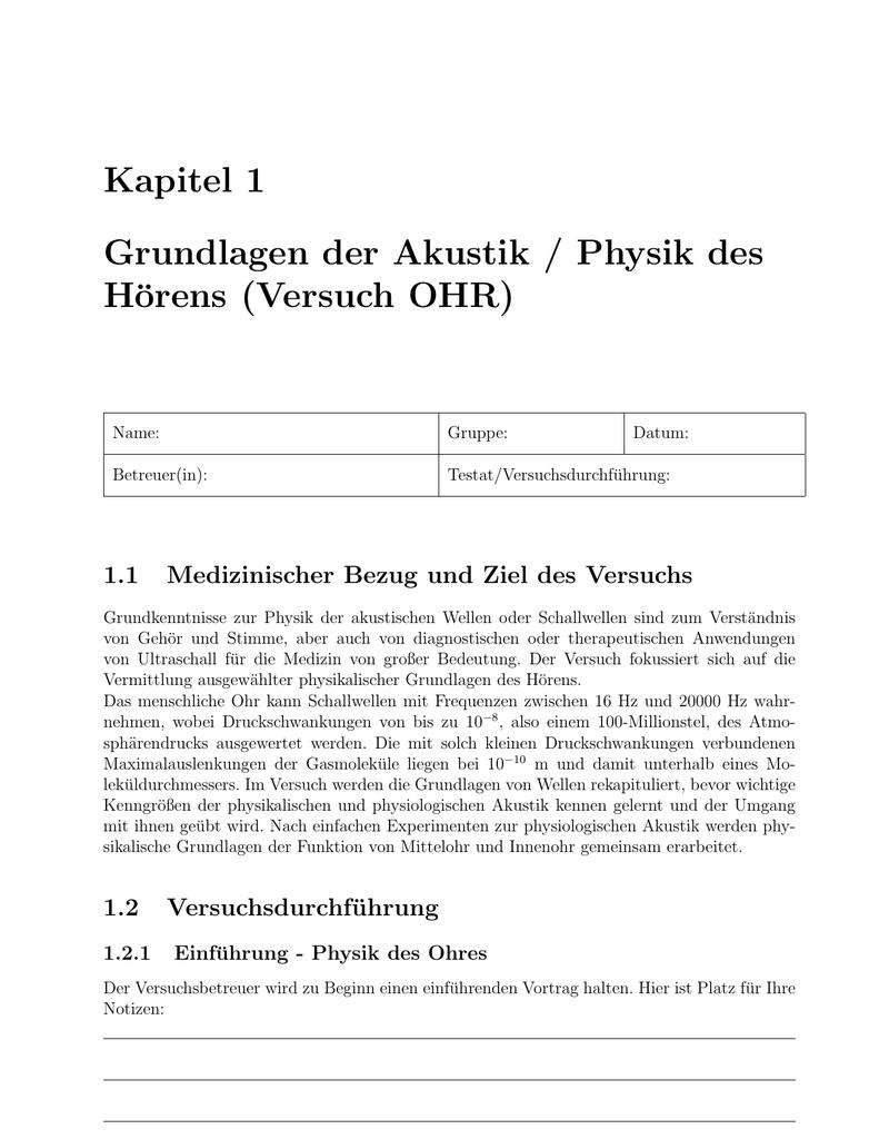 Kapitel 1 Grundlagen der Akustik / Physik des Hörens (Versuch OHR)