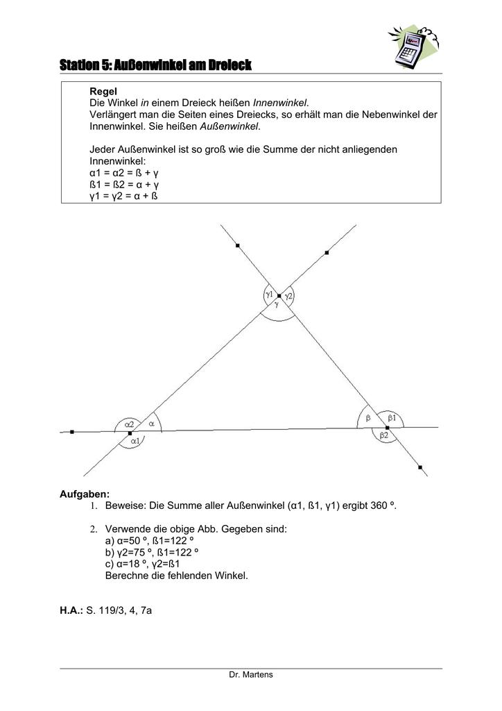 Berühmt Arbeitsblatt Dreieck Summe Und Außenwinkelsatz Galerie ...