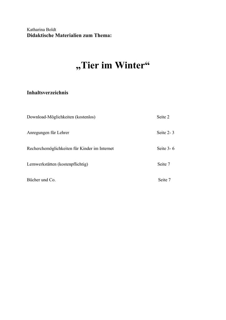 "Tier im Winter"""