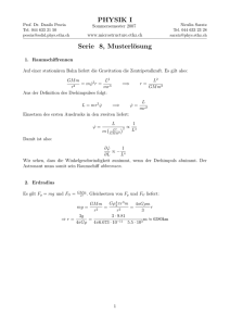 PHYSIK I Serie 8, Musterlösung