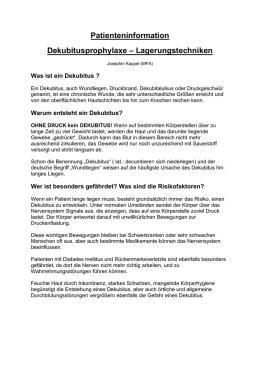 Patienteninformation Dekubitusprophylaxe – Lagerungstechniken