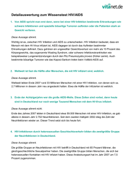 Detailauswertung zum Wissenstest HIV/AIDS