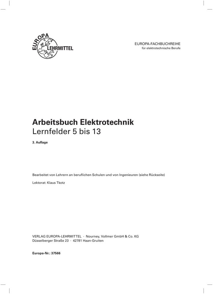 Arbeitsbuch Elektrotechnik Lernfelder 5 bis 13 - Europa