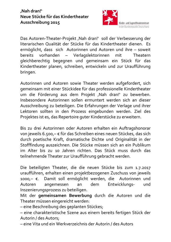 Nah Dran Neue Stücke Für Das Kindertheater Ausschreibung 2015
