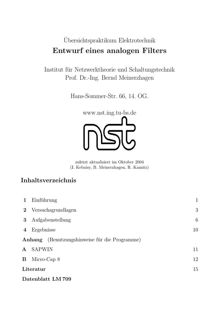 Entwurf eines analogen Filters - Institut für Elektronische