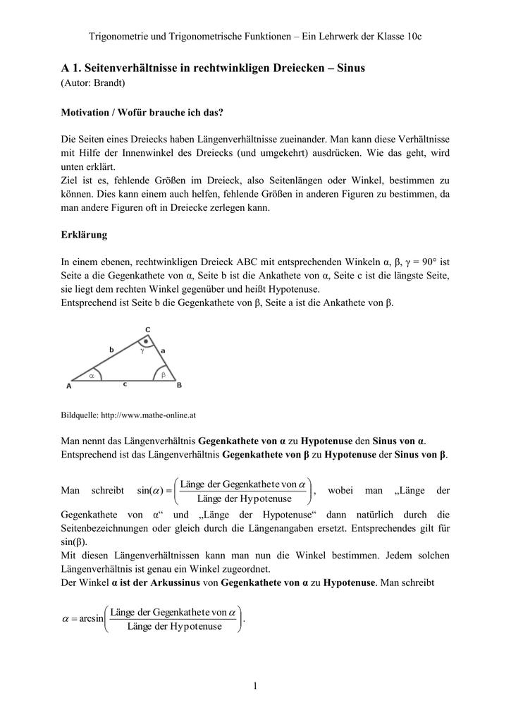 A 1. Seitenverhältnisse in rechtwinkligen Dreiecken – Sinus