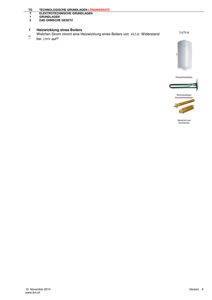 1 Heizwicklung eines Boilers Welchen Strom nimmt eine