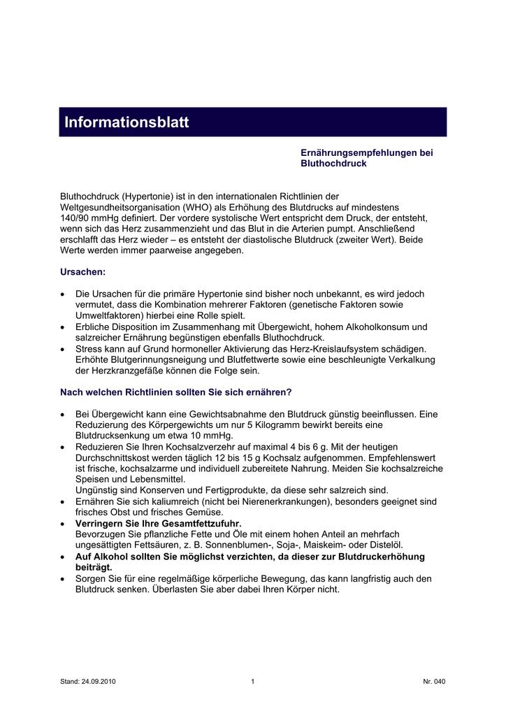 Informationsblatt - Hufeland Klinikum
