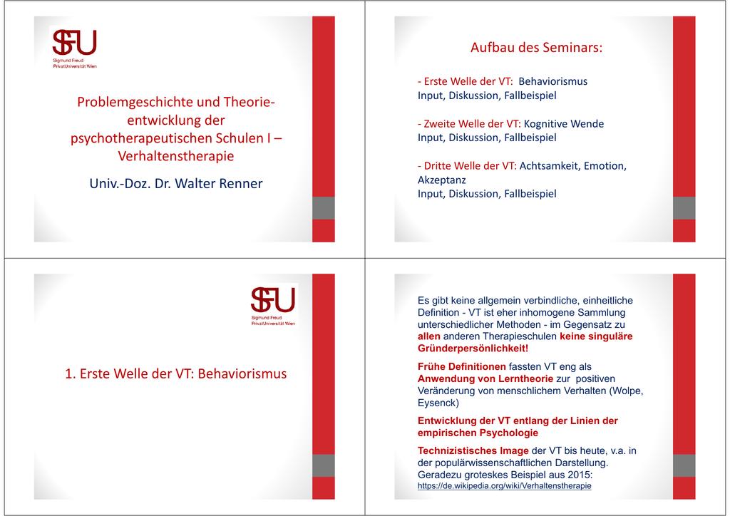 Verhaltenstherapie Univ.-Doz. Dr. Walter Renn