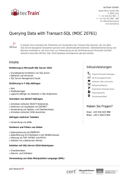 Querying Data with Transact-SQL (MOC 20761)