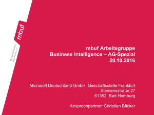 AG Business Intelligence – AG-Spezial am 20.10.2016