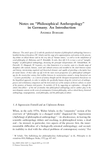 "Notes on ""Philosophical Anthropology"" in Germany. An Introduction"