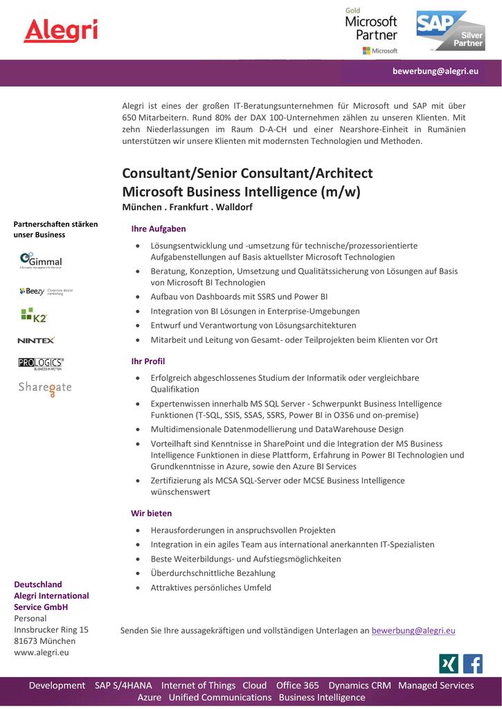 Senior Consultant Microsoft Business Intelligence