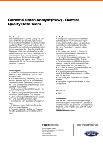 Garantie Daten Analyst (m - w) - Central Quality Data Team.pub