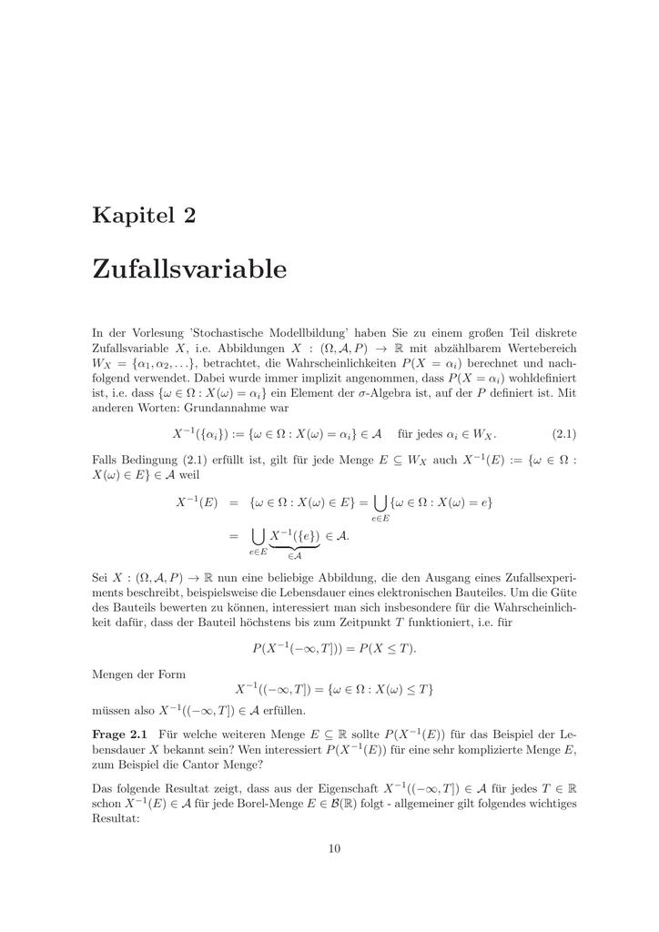 Wunderbar Kapitel 2 Zufallsvariable In Der Vorlesung U0027Stochastische Modellbildungu0027  Haben Sie Zu Einem Großen Teil Diskrete Zufallsvariable X, I.e. Abbildungen  X : (Ω, ...