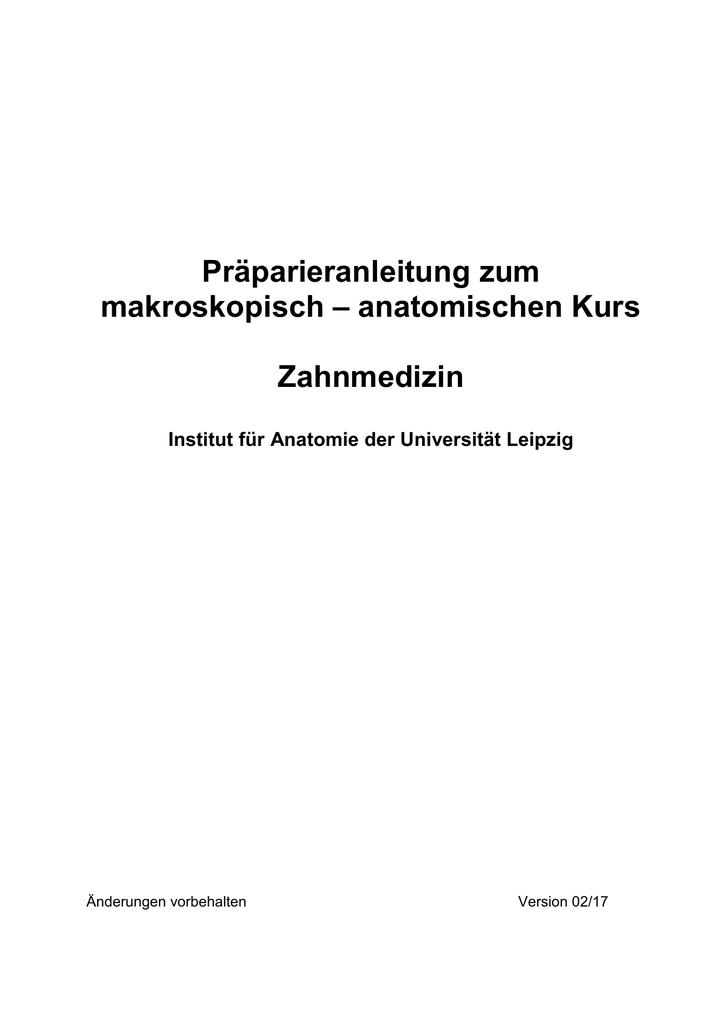 Präparieranleitung zum - Institut für Anatomie Leipzig