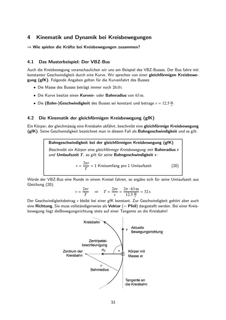4 Kinematik und Dynamik bei Kreisbewegungen