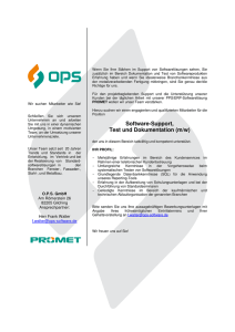 Software-Support, Test und Dokumentation (m/w)