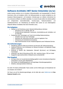 Software Architekt/.NET Senior Entwickler (m/w)