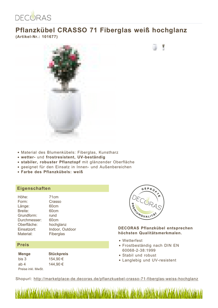 Pflanzkübel CRASSO 71 Fiberglas weiß hochglanz
